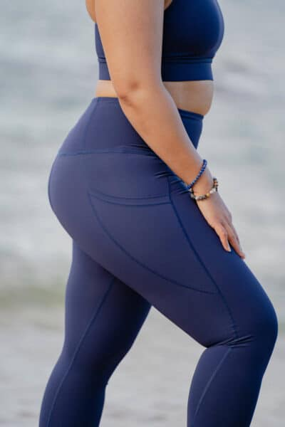 vue legging brassiere sport phoenix bleu profil